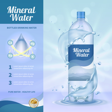 Drinking water advertising composition with mineral water symbols realistic vector illustration