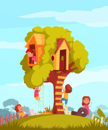 Tree house with ladder and joyful children during games on blue sky background cartoon vector illustration Иллюстрация