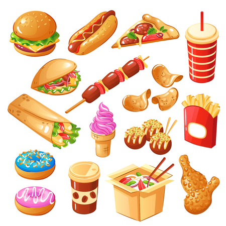 Set of icons fast food including drinks, sandwiches, noodle, sweets, fried potato, chicken legs isolated vector illustration