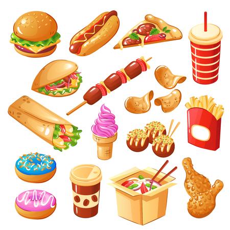 Satz Schnellimbiß der Ikonen einschließlich Getränke, Sandwiche, Nudel, Bonbons, gebratene Kartoffel, Hühnerbeine lokalisierte Vektorillustration