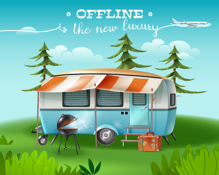 Travel tourism horizontal poster with wild nature scenery and camper van with awning and barbecue grill vector illustration
