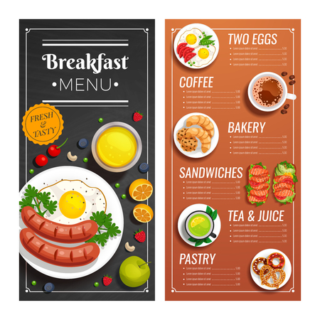 Breakfast menu design for cafe and restaurant with offer of dishes made with tasty fresh products vector illustration   Illustration
