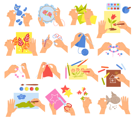 Creative kids hands knitting embroidering folding origami making homemade beads bracelet drawing coloring icons set vector illustration.