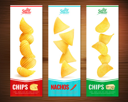 Set of three salty snacks vertical banners with realistic images of cheese chips pieces with text vector illustration