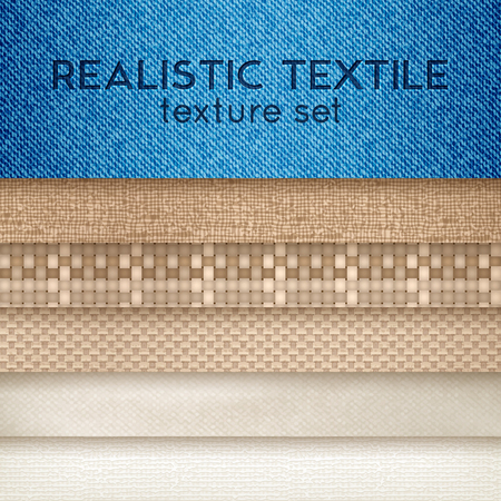 Fabric cloth swatches closeup with textile texture and color for sewing decoration backgrounds horizontal set realistic vector illustration