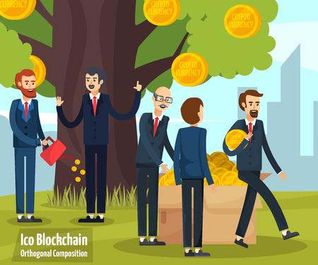 Pièce de monnaie initiale offrant une composition de dessin animé avec des personnages de dessins animés heureux sur illustration vectorielle de bitcoin tree background