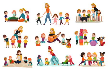 Kindergarten icons set with playing children symbols flat isolated vector illustration Illusztráció