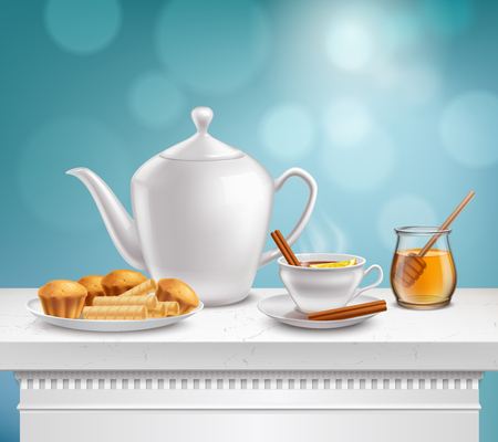 White porcelain teapot full hot teacup glass honey jar and plate muffins waffels realistic composition vector illustration