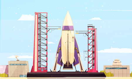 Space technology rocket satellites flat composition of space port scenery with firing pad equipment and buildings vector illustration