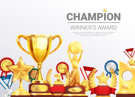 Sport competitions winners awards realistic composition poster with gold silver bronze medals and championship cup vector illustration  Ilustração
