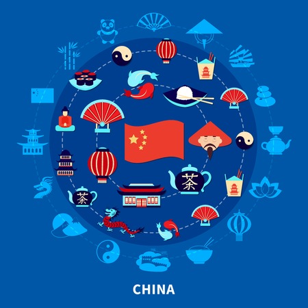 Travel to china set with chinese traditional food flag and symbols on blue background flat vector illustration