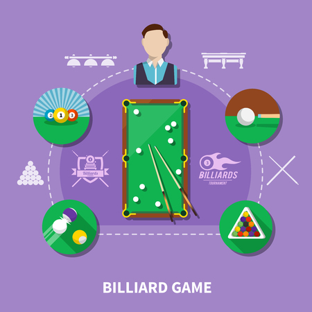 Billiard game composition on lilac background with player, balls and cue, table, game emblems vector illustration Ilustrace