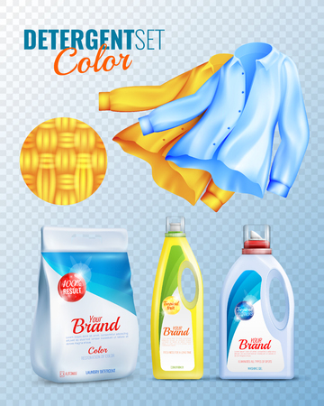 Colored and isolated detergents clothes transparent icon set with conditioner washing powder and clean shirts vector illustration