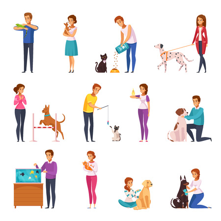 People with pets isolated icons set of owners training feeding playing grooming their pets and walking with them cartoon vector illustration      Vettoriali