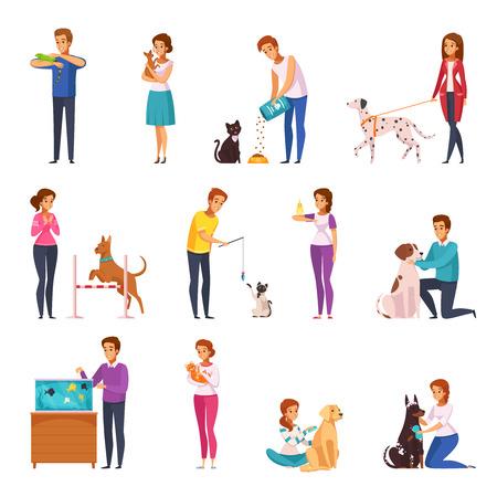 Mensen met huisdieren geïsoleerde pictogrammenreeks eigenaars die het voedende spelen verzorgen die hun huisdieren verzorgen en met hen beeldverhaal vectorillustratie lopen