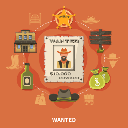 Wanted person, bearded cowboy, round composition with sheriffs badge, money bags, alcohol on terracotta background vector illustration