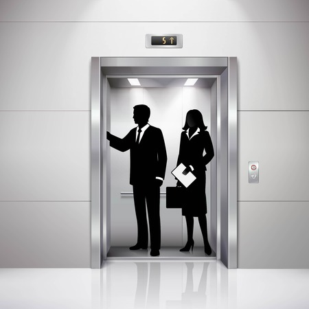 Formally dressed man and woman silhouettes in realistic business center elevator image with lights shadows reflection vector illustration