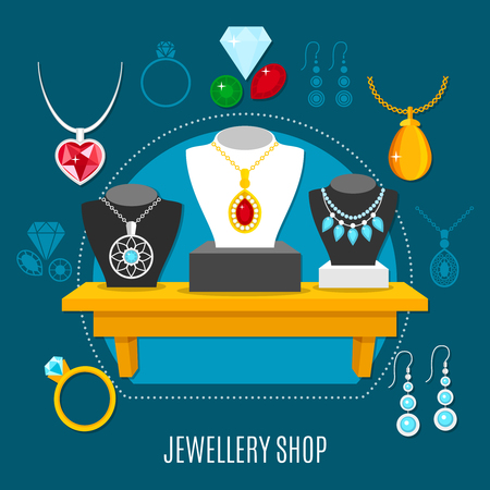 Showcase of jewelry shop with necklaces on dummies, gems, earrings, rings composition on blue background vector illustration