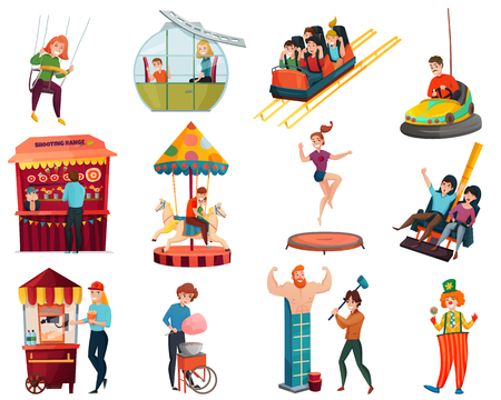 Amusement park set with adult and kid characters riding on swing and carousel and park workers selling cotton candy and popcorn isolated cartoon vector Illustration