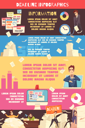 Deadline pressure infographic cartoon poster with information on beating burnout for project managers and  business leaders vector illustration Banque d'images - 99671228