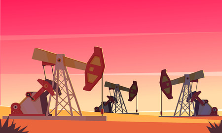 Oil production composition with evening dessert scenery and images of sucker-rod pumping units extracting oil vector illustration