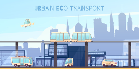 Ecologically clean urban transport with electric vehicles green monorail system and drone on cityscape background vector illustration  Illustration