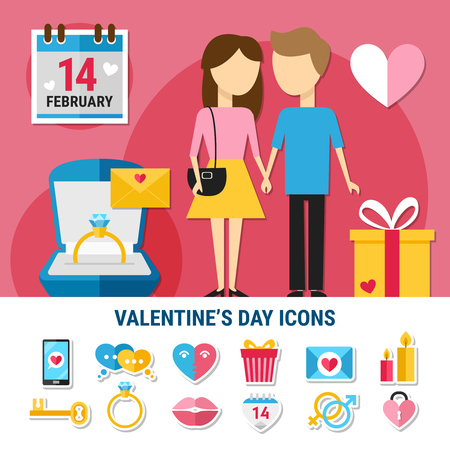 Colored flat valentines day icon set with icons combined in composition couple in love vector illustration Illusztráció