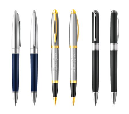 Realistic business pen icon set with silver gold and black premium color vector illustration