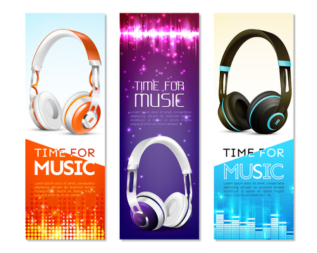 Set of vertical banners with realistic earphones with headband, sound wave, digital equalizer, sparkles. Isolated vector illustration.