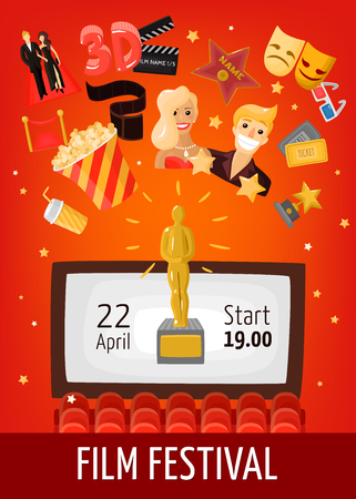 Film festival poster with start date information screen in auditorium and cinema decorative icons flat vector illustration