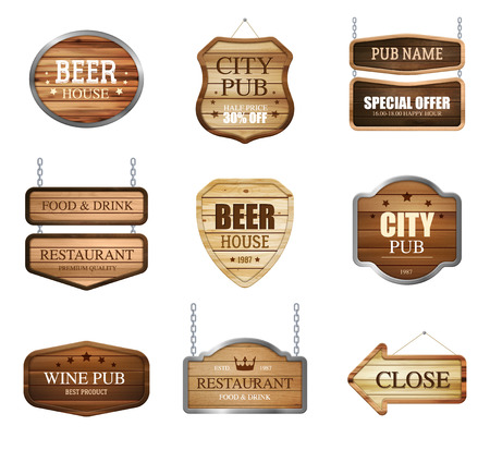 Realistic wooden texture sign set of isolated sign plate images for pub restaurant with editable text vector illustration