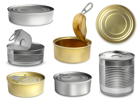 3d can mockup set of isolated preserve tin images of different shape and size open and closed vector illustration Illustration