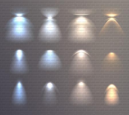 レンガの壁の背景孤立ベクトルイラストに青と黄色の光の効果のセット