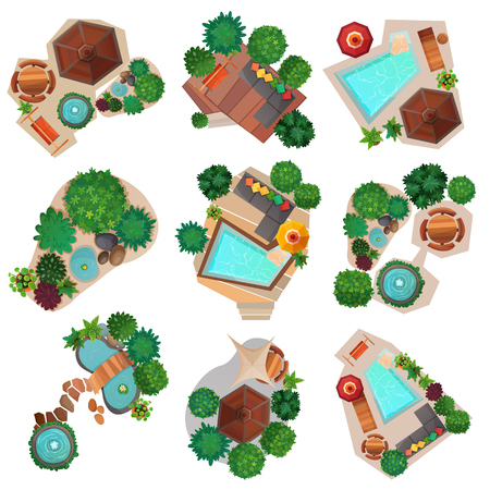 Landscape compositions top view set with pond or pool, trees and shrubs, garden furniture isolated vector illustration  Ilustração