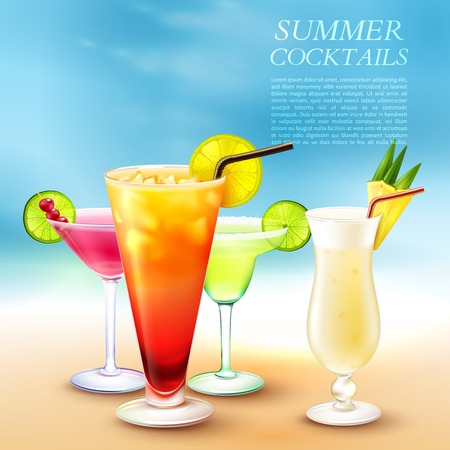 Drinks realistic composition with blurry marine beach background and glasses filled with different cocktails with text vector illustration Stok Fotoğraf - 99679847