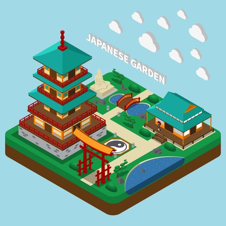 Isometric house composition with images of traditional japanese style tower buildings and garden territory with text vector illustration