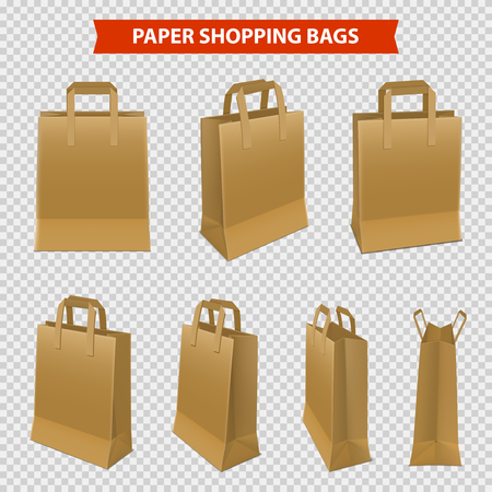 Realistic set of shopping bags made from brown paper isolated on transparent background vector illustration
