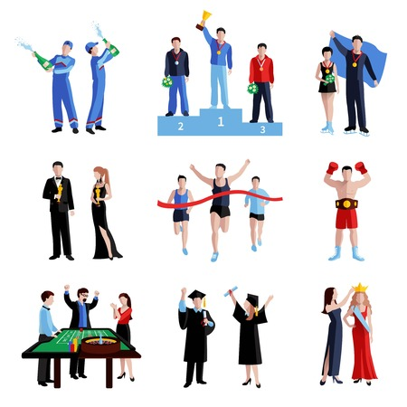 Winner icons set with sport education and arts flat isolated vector illustration
