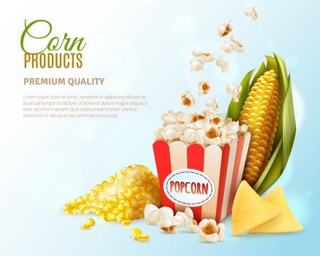 De gekleurde samenstelling van graanproducten met de beschrijving van de de premiekwaliteit van het graanproduct en plaats voor tekst vectorillustratie Stockfoto - 99679854