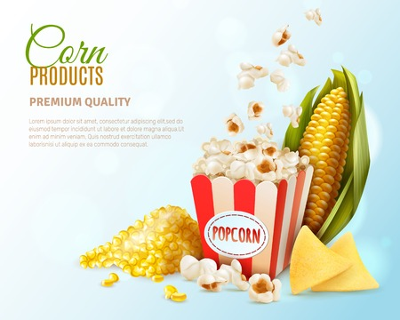 Colored corn products composition with corn product premium quality description and place for text vector illustration