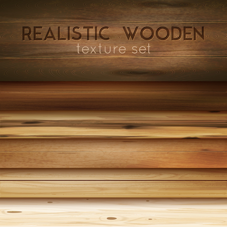 Realistic wooden texture horizontal set with editable text and cumbersome images of polished wood patterns vector illustration