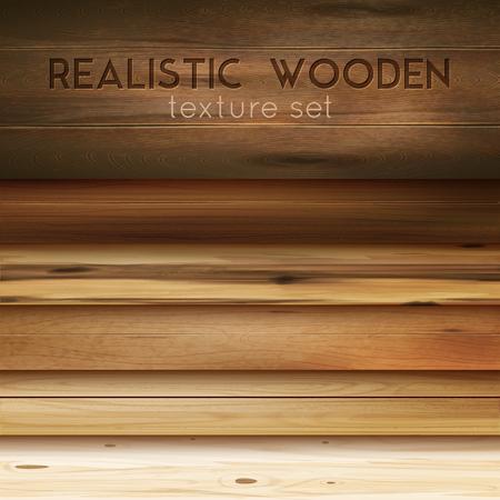 Texture horizontale en bois réaliste sertie de texte modifiable et d'images encombrantes de motifs en bois poli illustration vectorielle