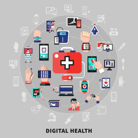 Digitale Gesundheit Symbole Icons flache Kreis Zusammensetzung mit mobilen tragbaren Geräten Anwendung medizinische Schatten Verbindung Vektor-Illustration