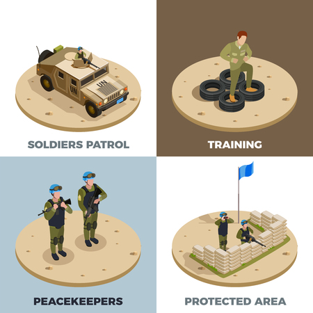 Army military service recruits training front line reinforcement peacekeepers patrol vehicle 4 isometric icons square vector illustration