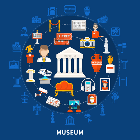 Museum blue background with color icons in round design including paleontology archaeological historical artifacts and  art objects flat vector illustration