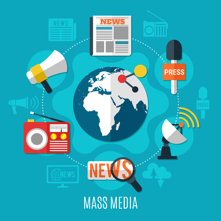 Mass media design concept with world sign in centre and news information icons around flat vector illustration