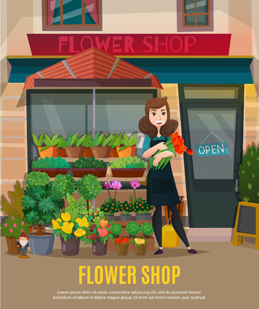 Flower shop with flowers collection and shop assistant symbols flat vector illustration Illustration