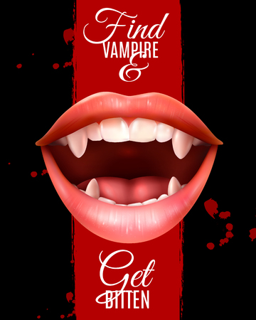 Realistic open female vampire mouth with fangs poster with typographic lettering on dark grunge background vector illustration Banque d'images - 99679861