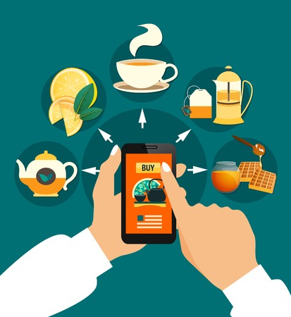 Tea buying online composition with smartphone in hands, cup, teapots, honey, lemon on green background vector illustration Illustration