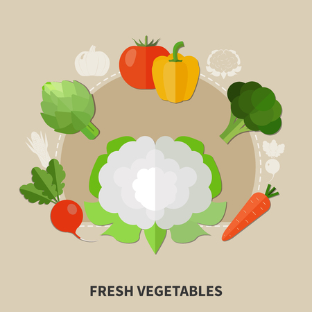 Healthy eating colored composition with flat style vegetables set and fresh vegetable headline vector illustration